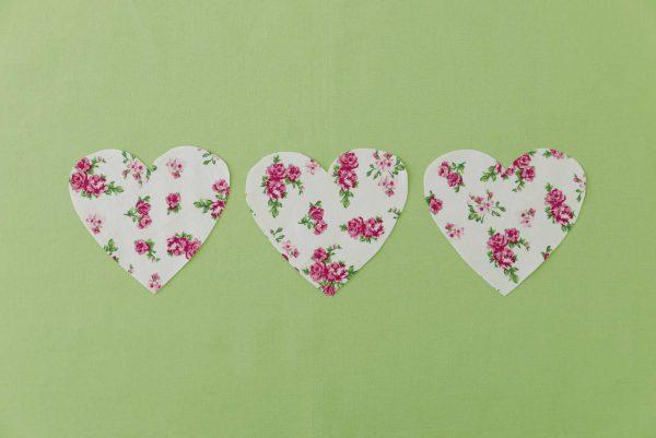 Drei.Herzen (Grün-Rosen)